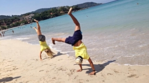 He was so shocked when he saw this picture that neither of us can actually do a handstand.  He blamed the photographer.