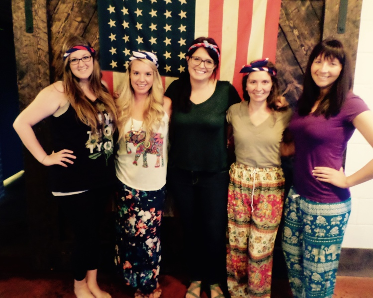 If I know one thing about headbands and elephants....it's that they make people happy and you should buy them this holiday from the Make Our Day Shop.  Also I know the background is awesome, thanks for mentioning it though. L to R: Brittany, Teacha Katie, Morgan, Megan, Laura